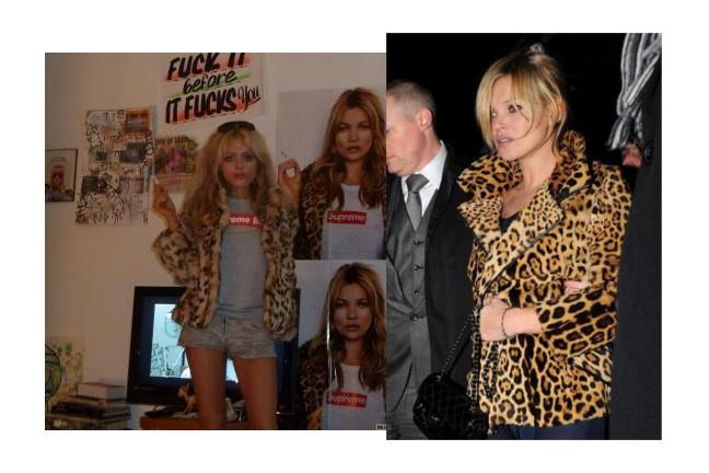 Cat Marnet et Kate Moss manteau léopard