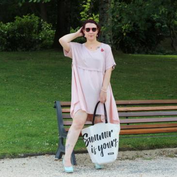 La robe tunique rose poudrée Mat fashion