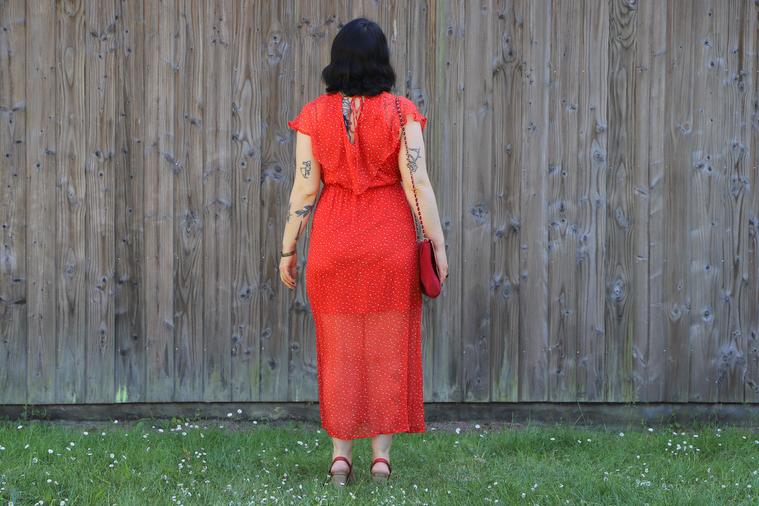 robe rouge vero moda de dos