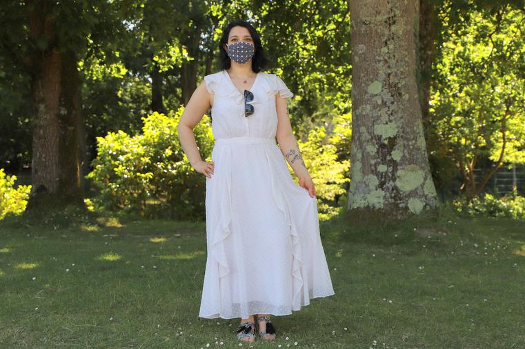 robe blanche a volants naf naf