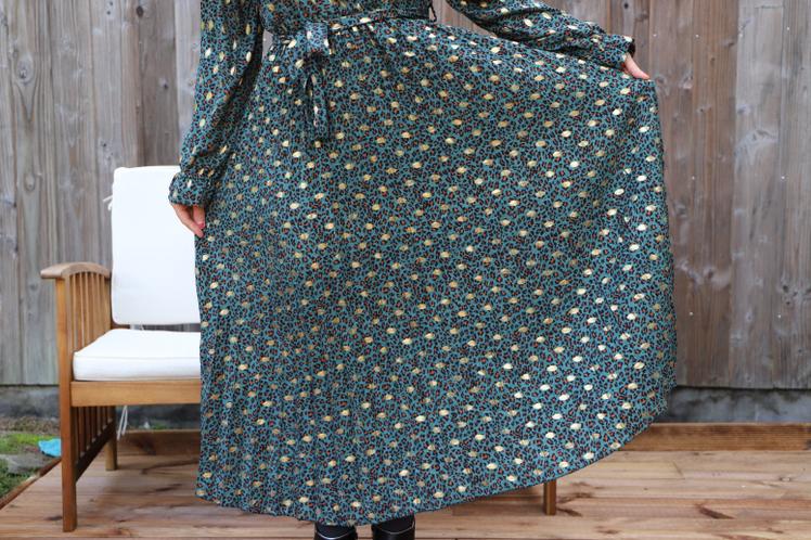 maxi robe plissée verte