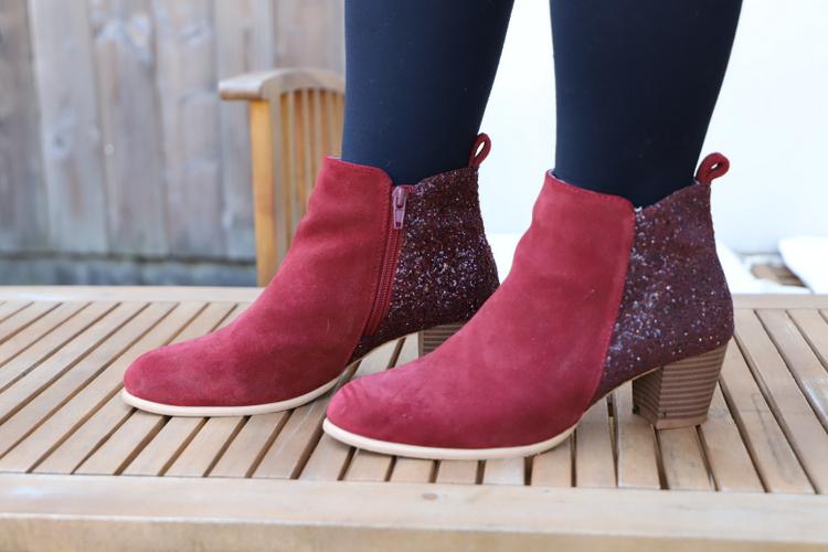 boots rouges à paillettes Blancheporte
