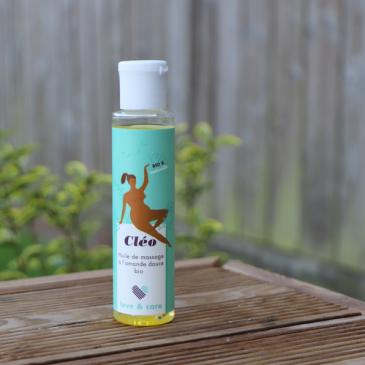 Cléo de Love & Care : huile de massage éthique à l'amande douce BIO